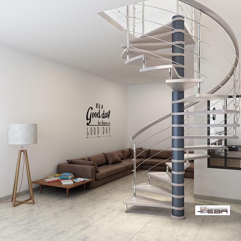 Escalier limon central en m tal eba les mat riaux escaliers et garde co - Escalier en metal interieur ...