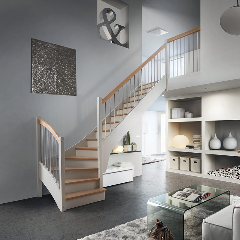 Escalier mod le f52 dl les mat riaux for Construction escalier beton interieur